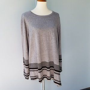 Calvin Klein Womens Sweater Tunic 1X Gray Striped
